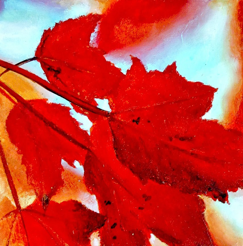 """Autumn Leaf 2- Still Life Painting Of Red Autumn Leaves Of A Wonderful Tree"" original fine art by Gerard Boersma"