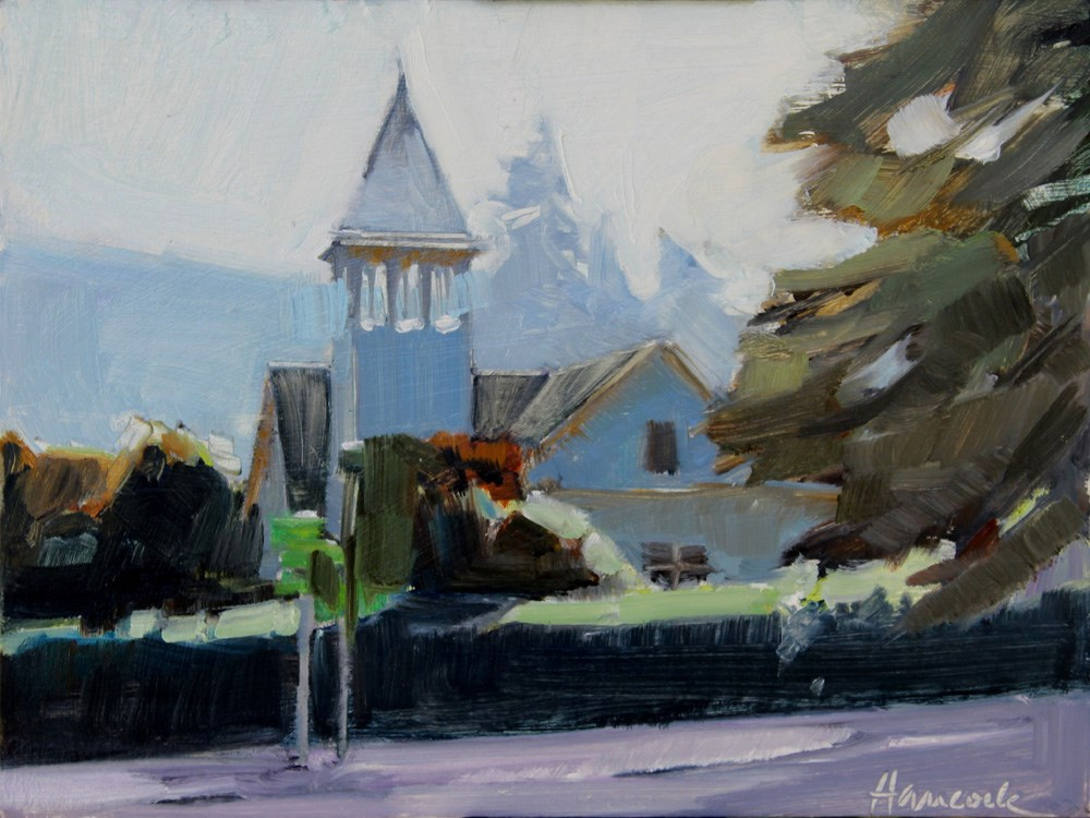 """Winslow Church"" original fine art by Gretchen Hancock"