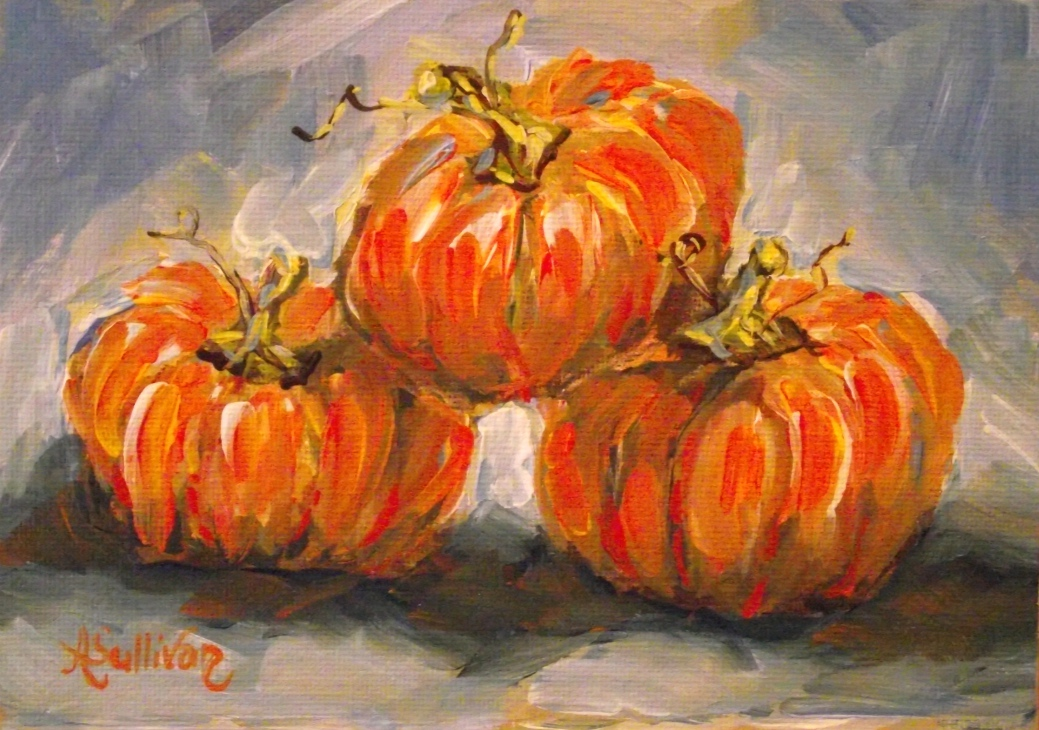 """Pumpkin Stack"" original fine art by Angela Sullivan"