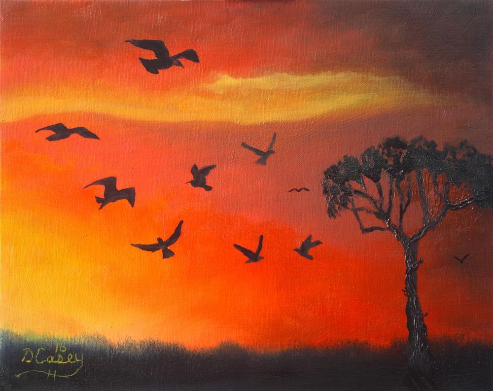 """Sunset Flock study"" original fine art by Dave Casey"
