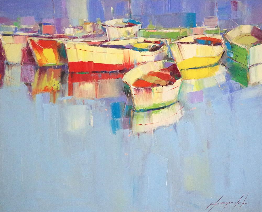 """""""Boats, Oil Painting in Handmade, One of a Kind"""" original fine art by V Y"""