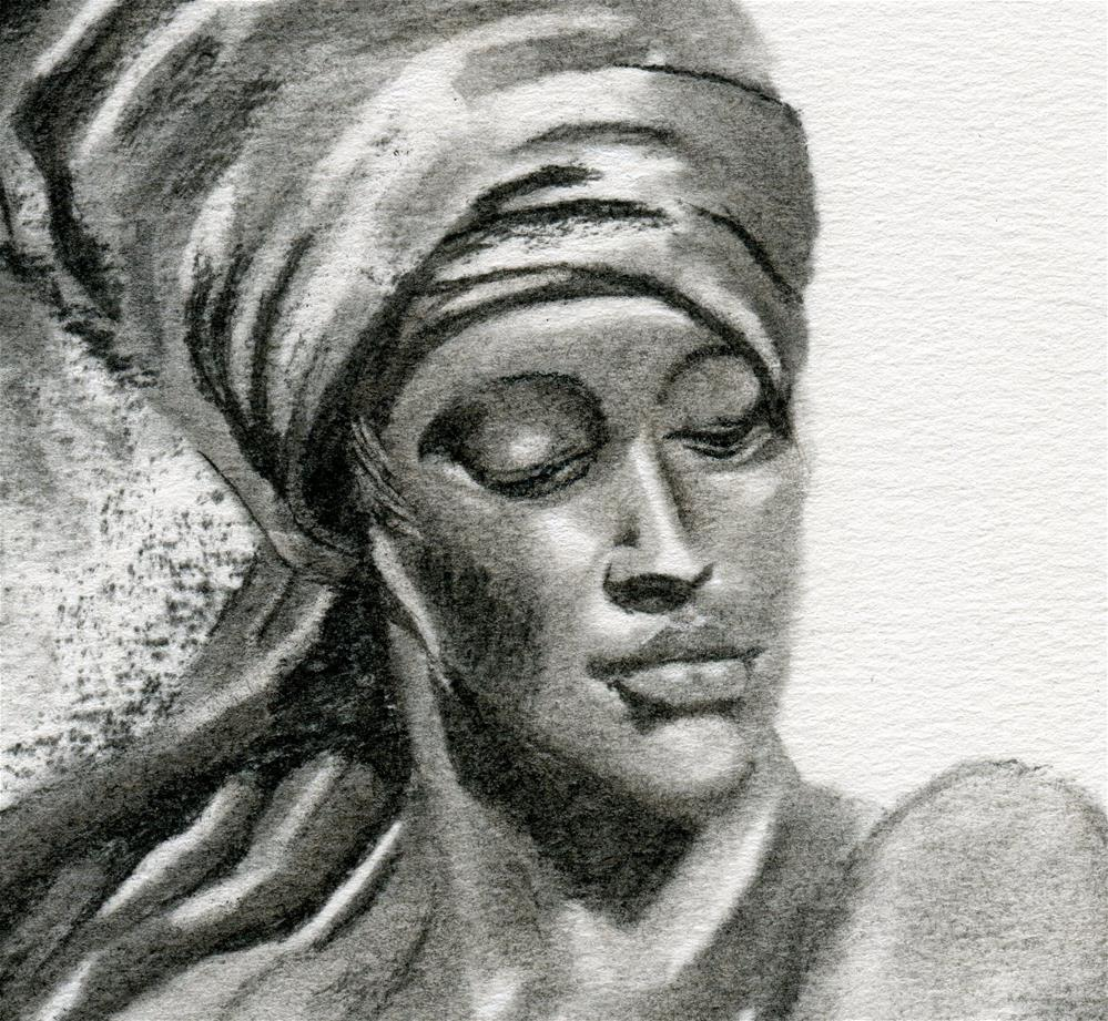 """Nubian Girl"" original fine art by Paulette Farrell"