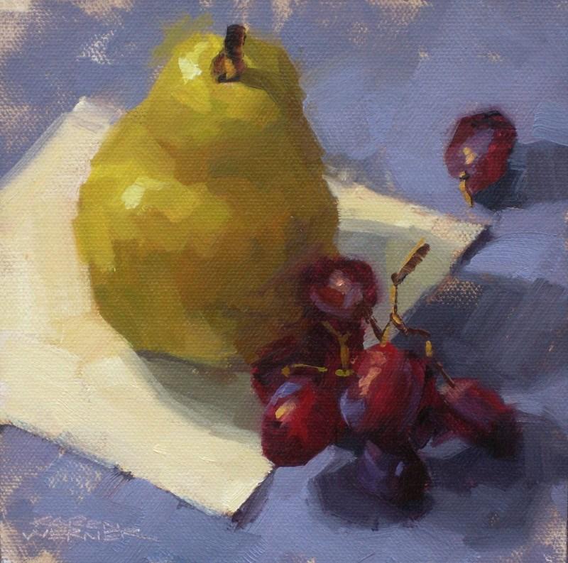 """""""Pear & Grapes"""" original fine art by Karen Werner"""