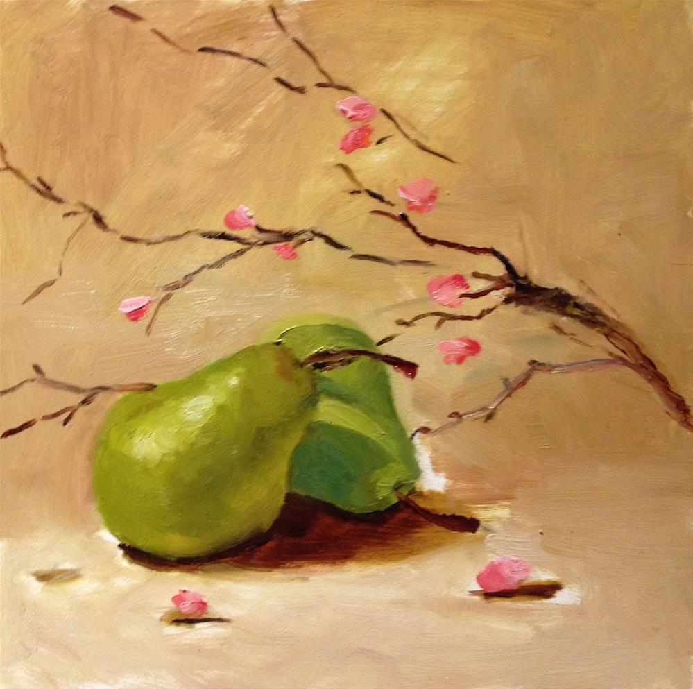 """Green Pears and Pink Blossoms"" original fine art by Dorothy Woolbright"