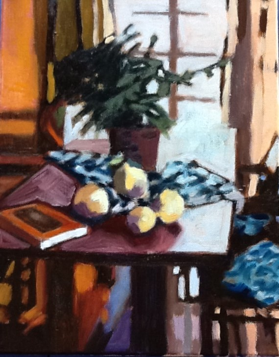 """Grapefruit and Diebenkorn"" original fine art by Pamela Hoffmeister"
