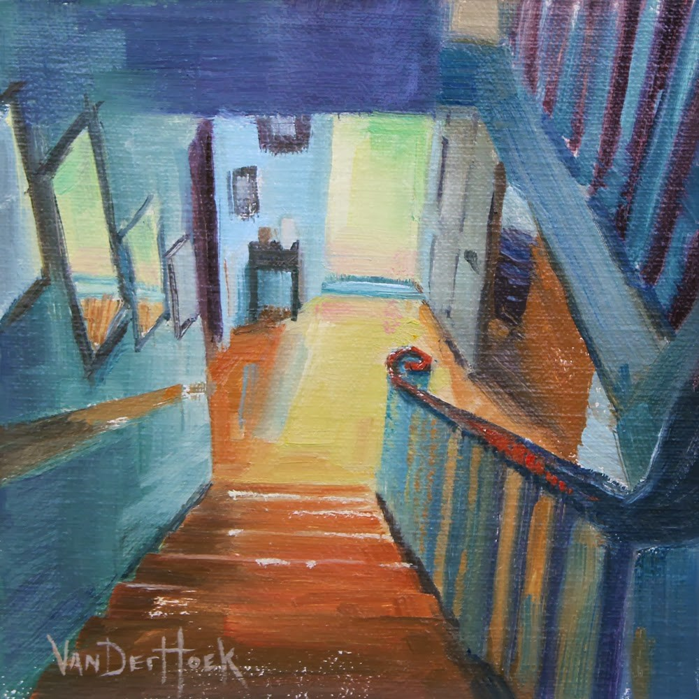 """Down and Out - Original Oil Painting of a Stairway - Interior Art - 6 Squared Show at Randy Higbee G"" original fine art by Kim VanDerHoek"