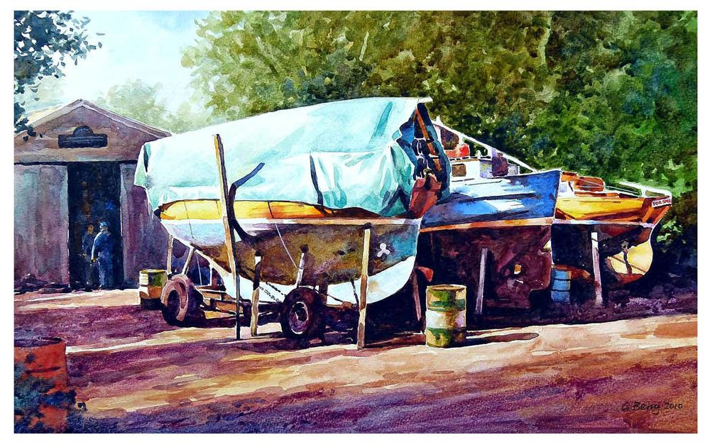"""Skippool boatyard."" original fine art by Graham Berry"
