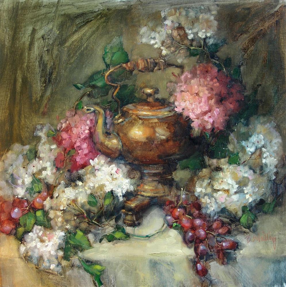 """Fireside Teakettle"" original fine art by Barbara Schilling"