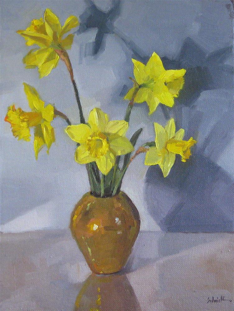 """Daffodil Bouquet on Blue spring flowers floral oil painting still life"" original fine art by Sarah Sedwick"