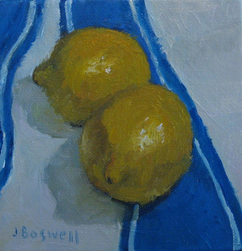 """Lemons on Striped Cloth"" original fine art by Jennifer Boswell"