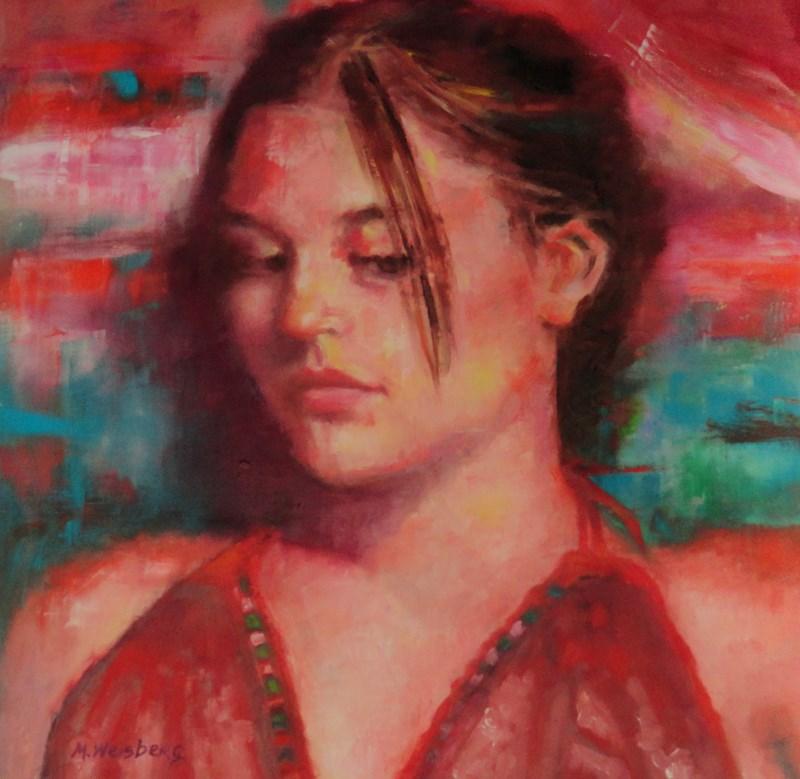 """Female Portrait Painting, ""Girl in Red Halter"" by Illinois Artist Marilyn Weisberg"" original fine art by marilyn weisberg"