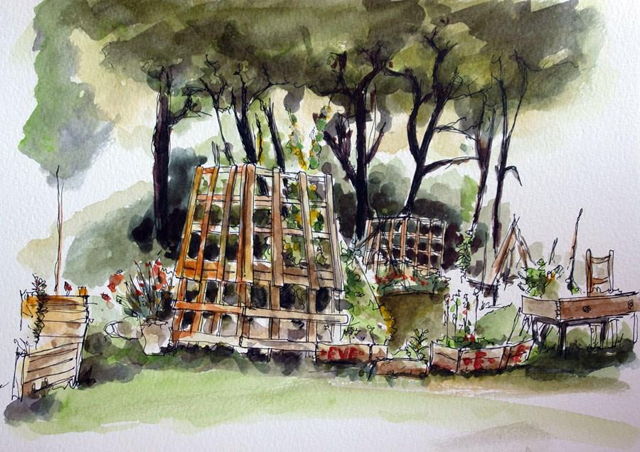 """0681 Urban Garden"" original fine art by Dietmar Stiller"