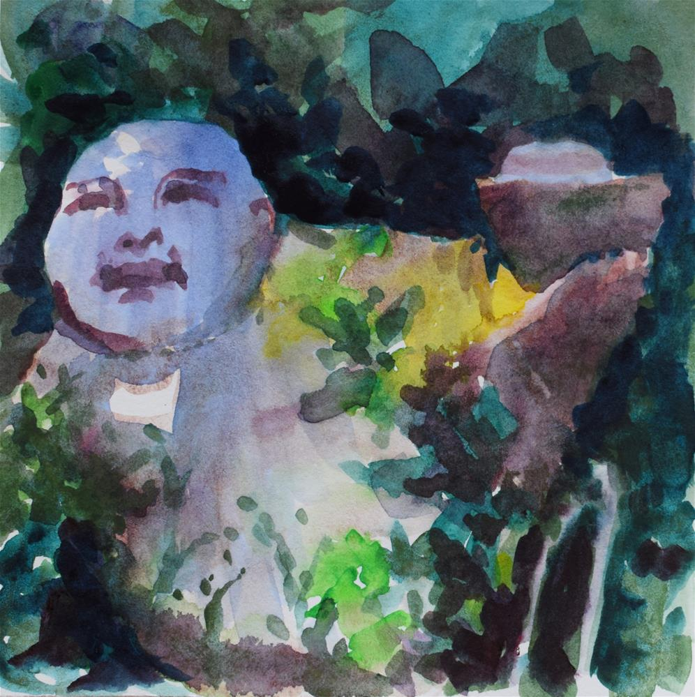 """Buddha In The Garden"" original fine art by Nancy Brown"