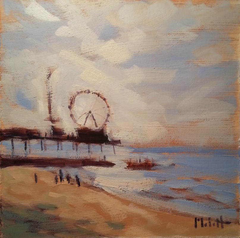 """Beach Life Ocean Pier Oil Painting Original Art"" original fine art by Heidi Malott"