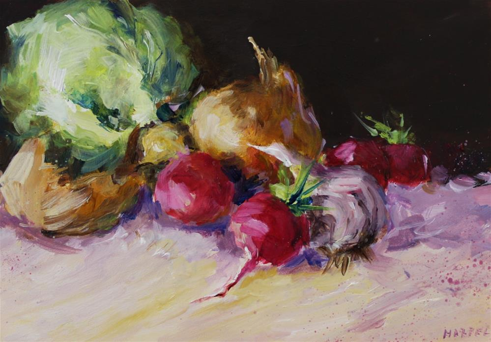 """Vegetable still life original painting"" original fine art by Alice Harpel"