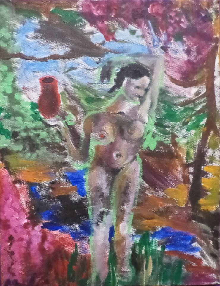 """The nude carries water original painting expressive"" original fine art by tara stephanos"