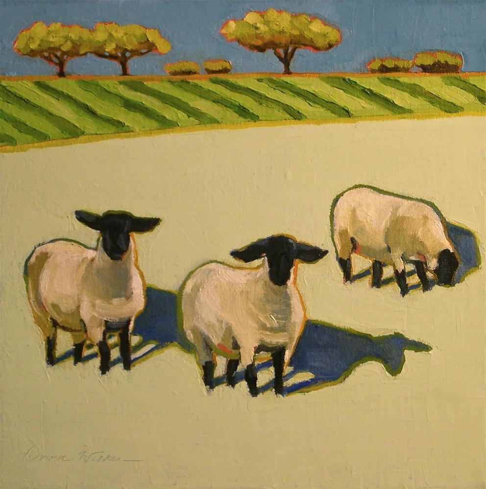 """Sheep Trio"" original fine art by Donna Walker"