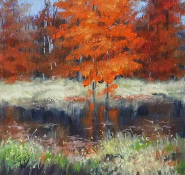 """Leaves on the Water"" original fine art by Linda Eades Blackburn"
