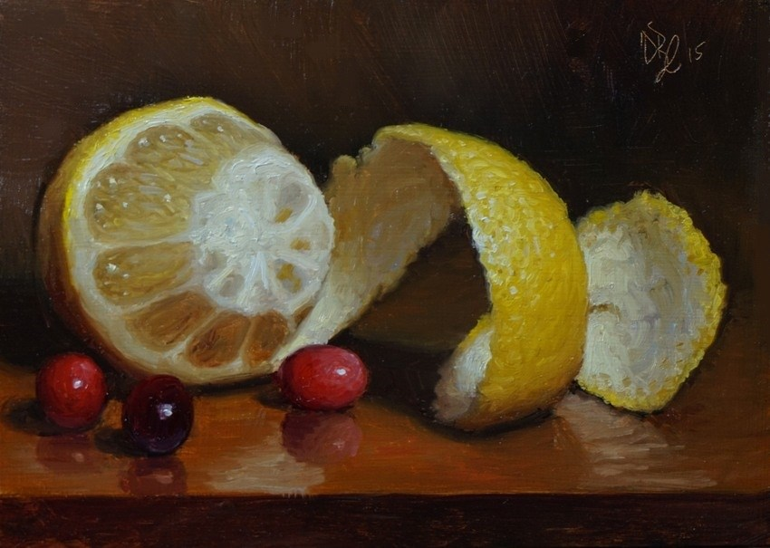 """Peeled Lemon and Cranberries"" original fine art by Debra Becks Cooper"