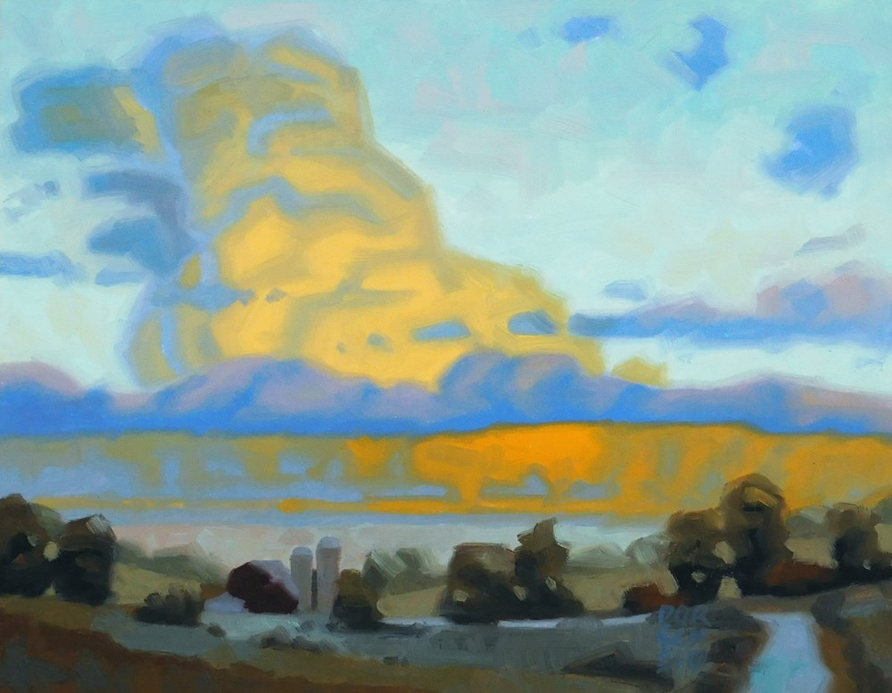 """Golden Farm Clouds"" original fine art by Les Dorscheid"