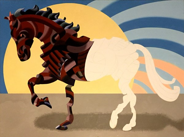 """Mark Webster - Abstract Geometric Futurist Horse Oil Painting in Progress"" original fine art by Mark Webster"