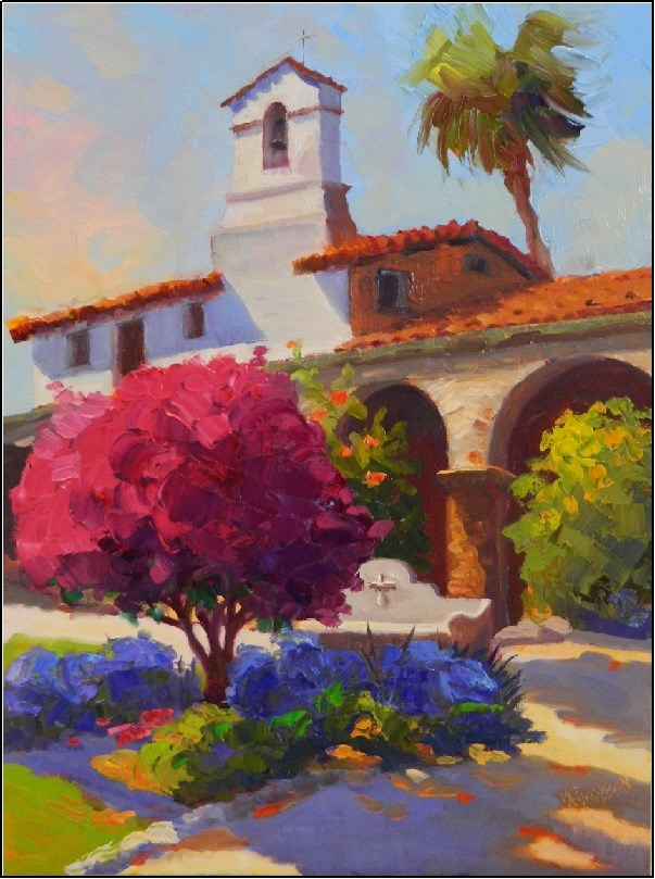 """Afternoon Color, Mission Capistrano, 12x16, oil on panel, Mission San Juan Capistrano, Father Serr"" original fine art by Maryanne Jacobsen"