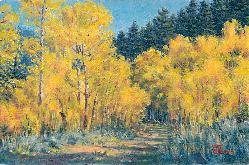 """C1492 Aspens along the Forest Road"" original fine art by Steven Thor Johanneson"