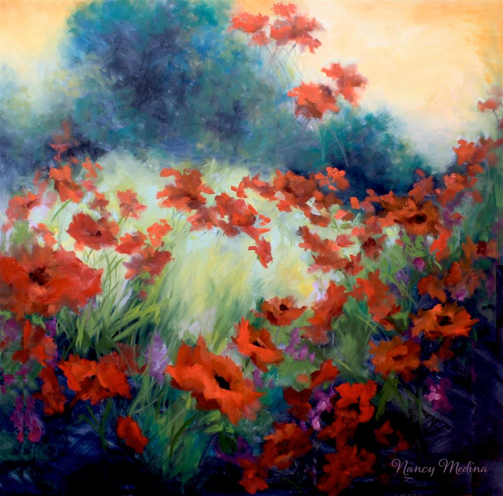 """Serenity Garden Poppies - Nancy Medina Art Classes and Videos"" original fine art by Nancy Medina"