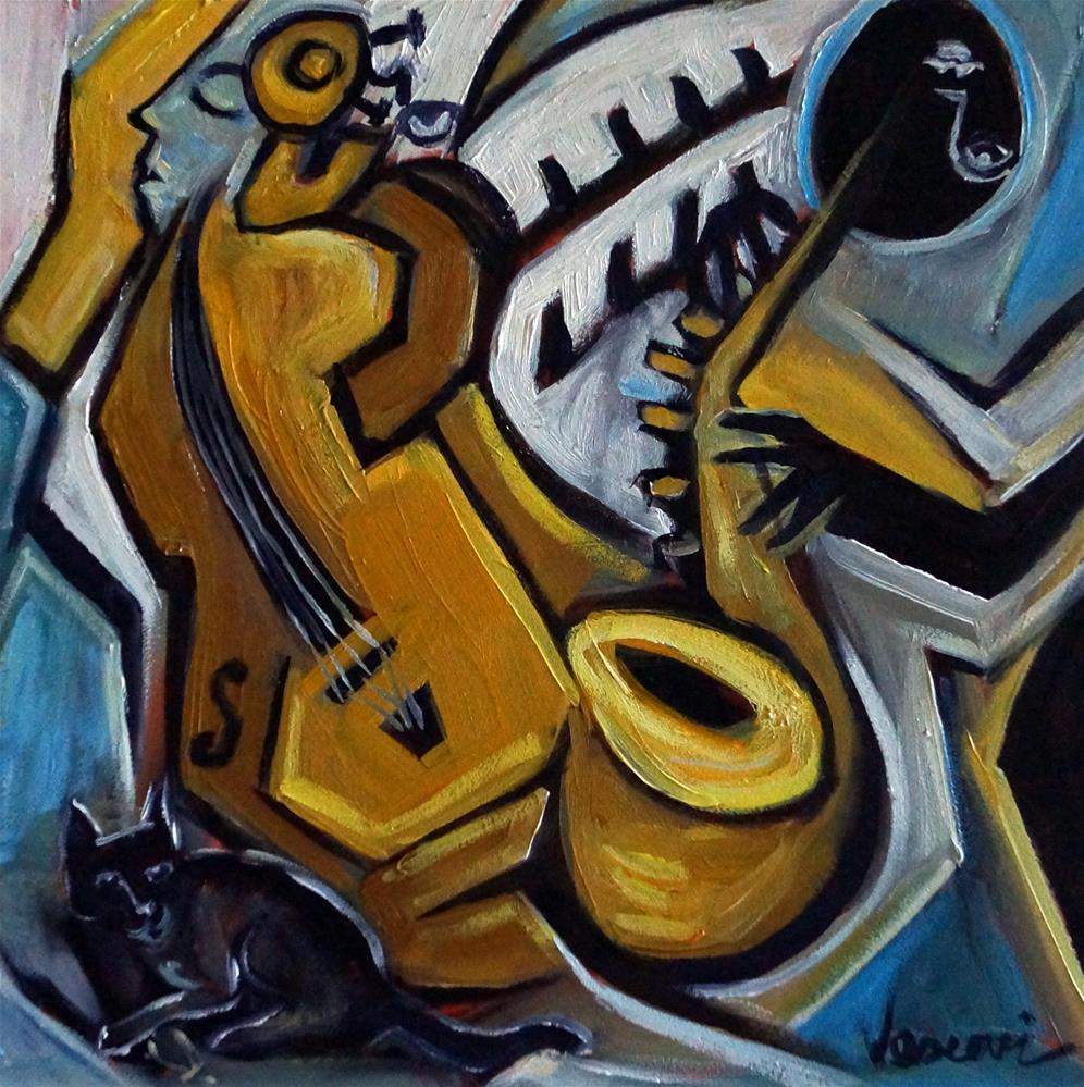 """Black Cat Jazz"" original fine art by Valerie Vescovi"