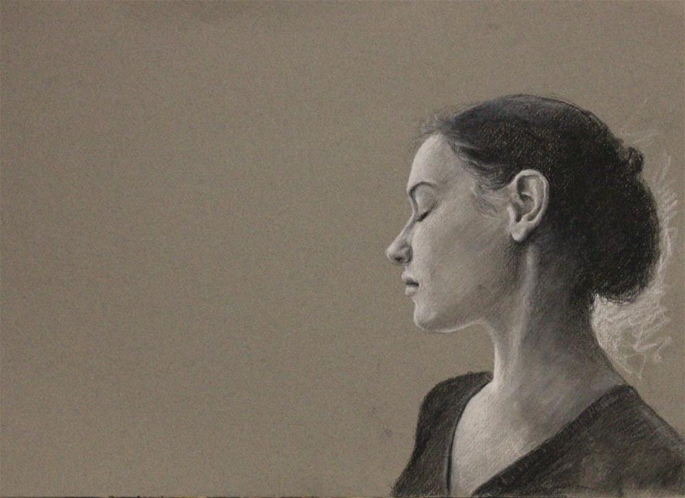 """profile of young woman"" original fine art by Marco Vazquez"