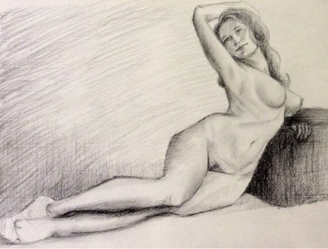 """Study of female nude"" original fine art by Hilary J. England"
