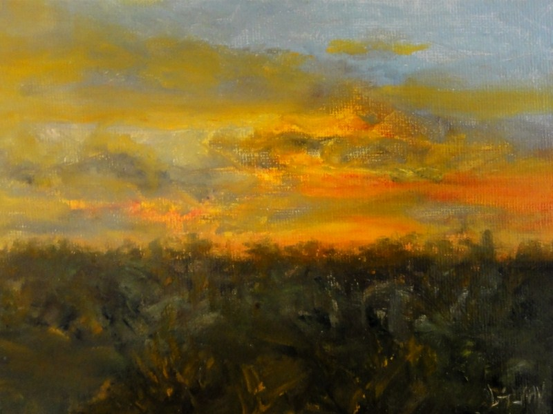 """Fiery Sunset"" original fine art by Dalan Wells"