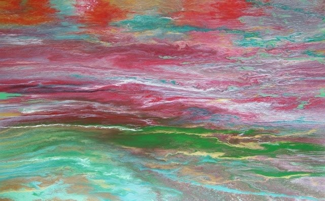 """Abstract Landscape,Sunset Art Painting Color In Motion by Colorado Contemporary Artist Kimberly Co"" original fine art by Kimberly Conrad"