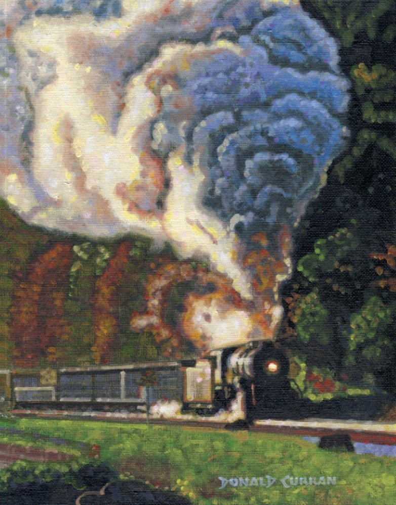 """CHOOO, CHOOO"" original fine art by Donald Curran"