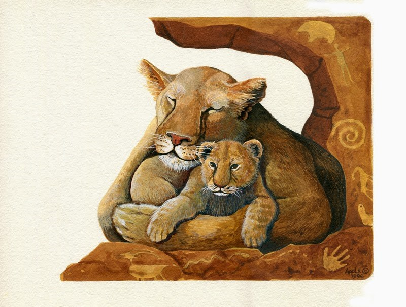 """Lion & Cub wildlife painting realistic illustration by Linda Apple"" original fine art by Linda Apple"