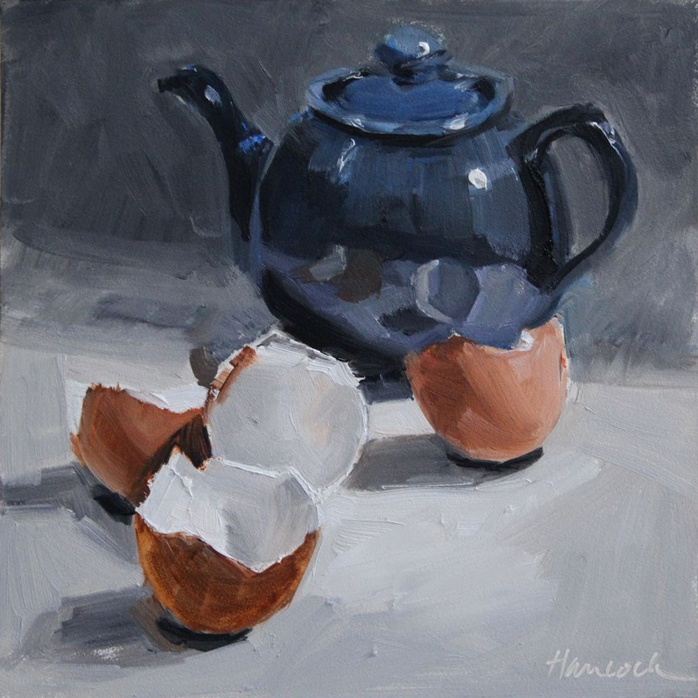 """Blue Teapot and Eggshells"" original fine art by Gretchen Hancock"