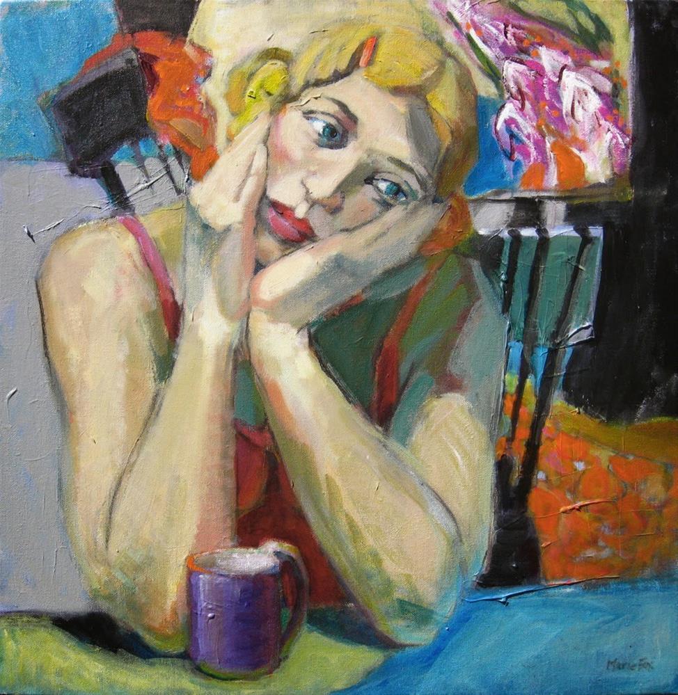 """Orange Barrette, figurative painting of woman, female figuration, contemporary figure painting, woma"" original fine art by Marie Fox"