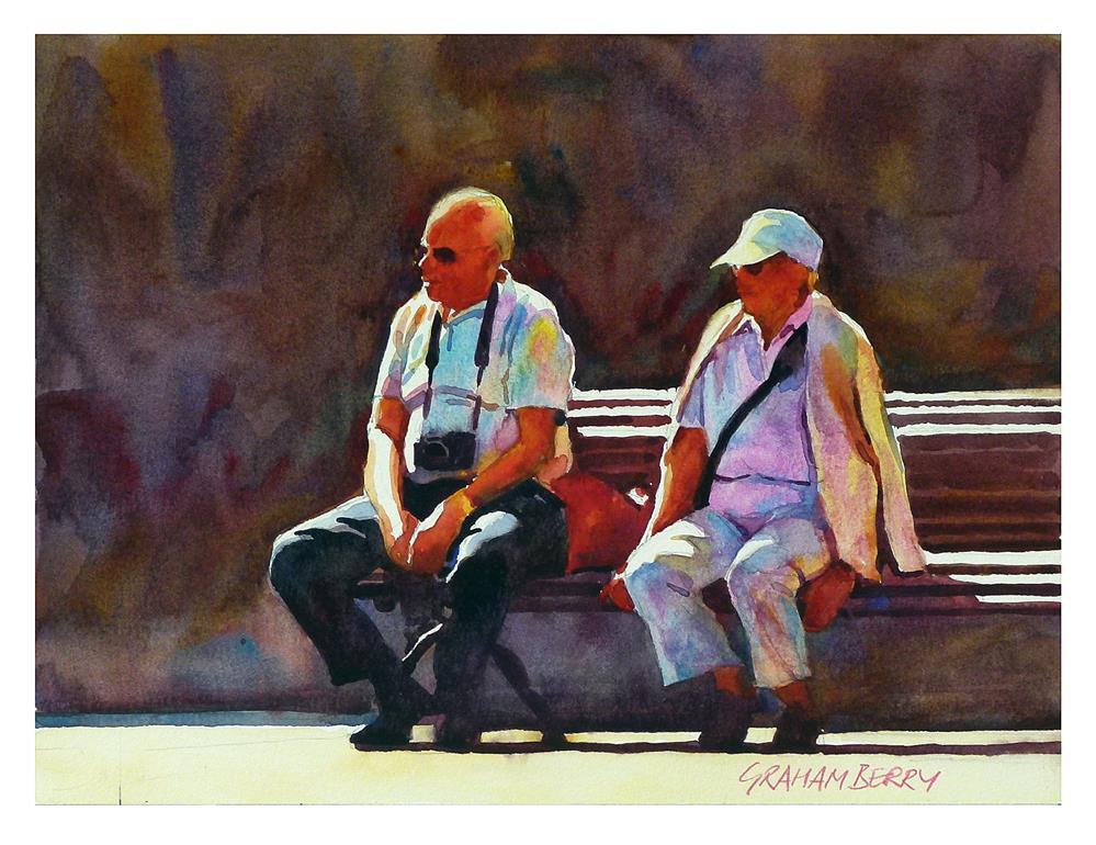 """""""'Same couple, same bench.'"""" original fine art by Graham Berry"""