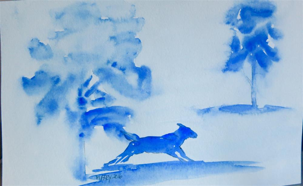 """Dog Running 0111"" original fine art by Michelina Frey"