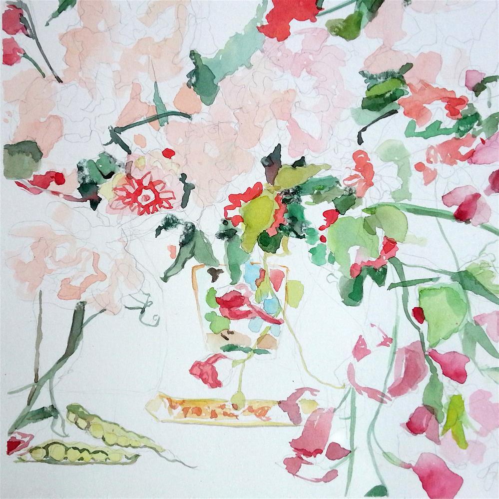 """Pea Pods and Flowers"" original fine art by Nava Judith"