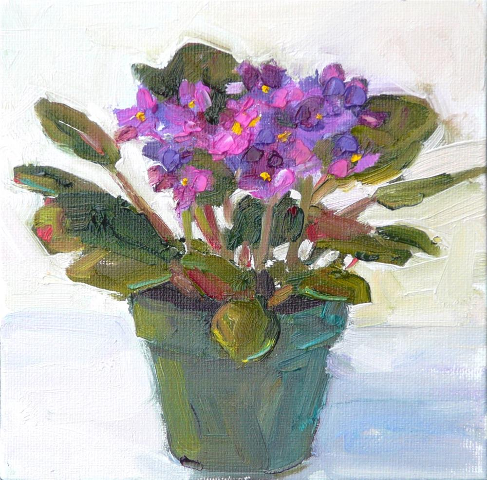 """African Violet,still life,oil on canvas,6x6,$175"" original fine art by Joy Olney"