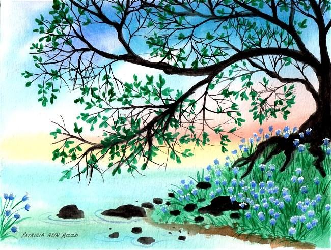 """""""A Perfect Blue Green Day"""" original fine art by Patricia Ann Rizzo"""