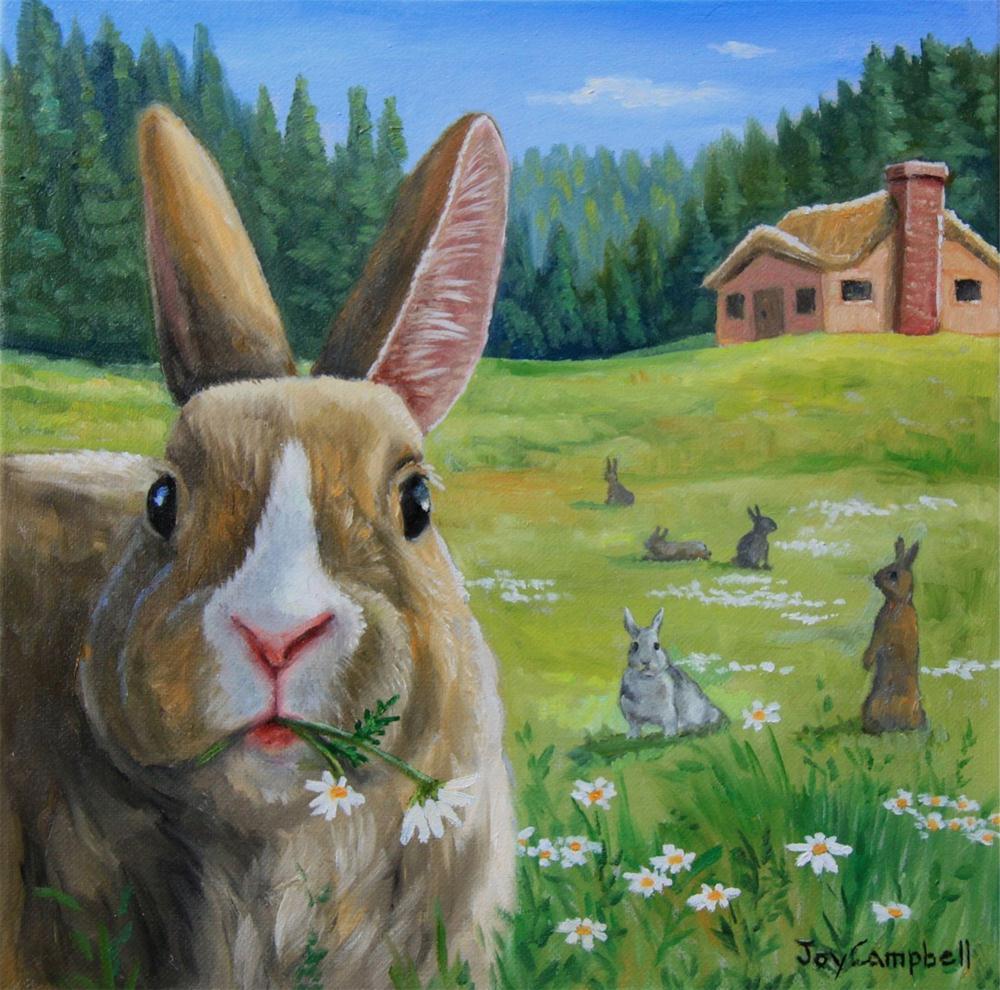 """Bunny Fields'"" original fine art by Joy Campbell"