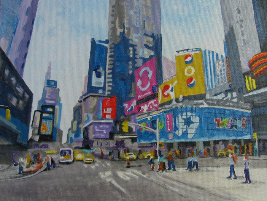 """Times Square"" original fine art by Nan Johnson"