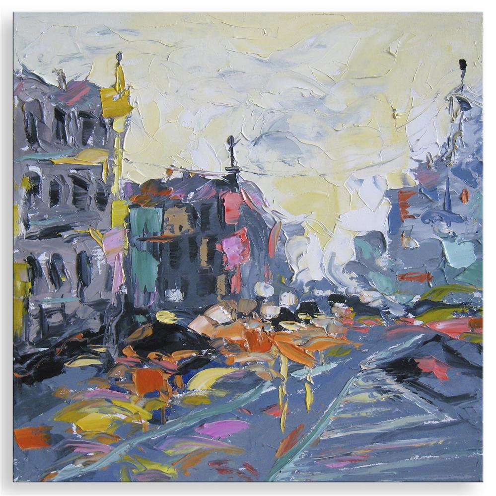 """Rain in city"" original fine art by Elena Lunetskaya"