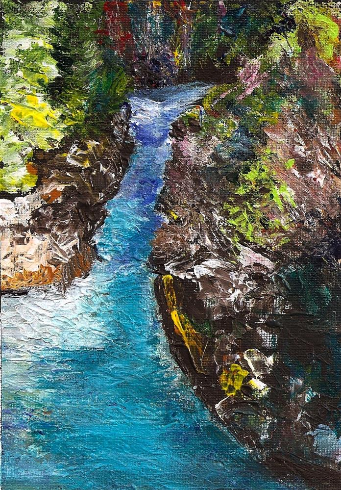 """5x7 Rogue River Acrylic Impasto Thick Paint on Canvas Paper Penny StewArt"" original fine art by Penny Lee StewArt"