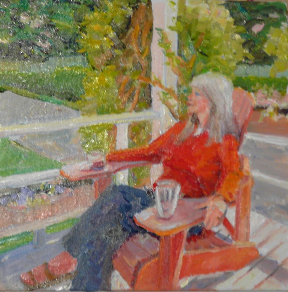 """Summer Porch,figure,oil on canvas,6x6,price$250"" original fine art by Joy Olney"