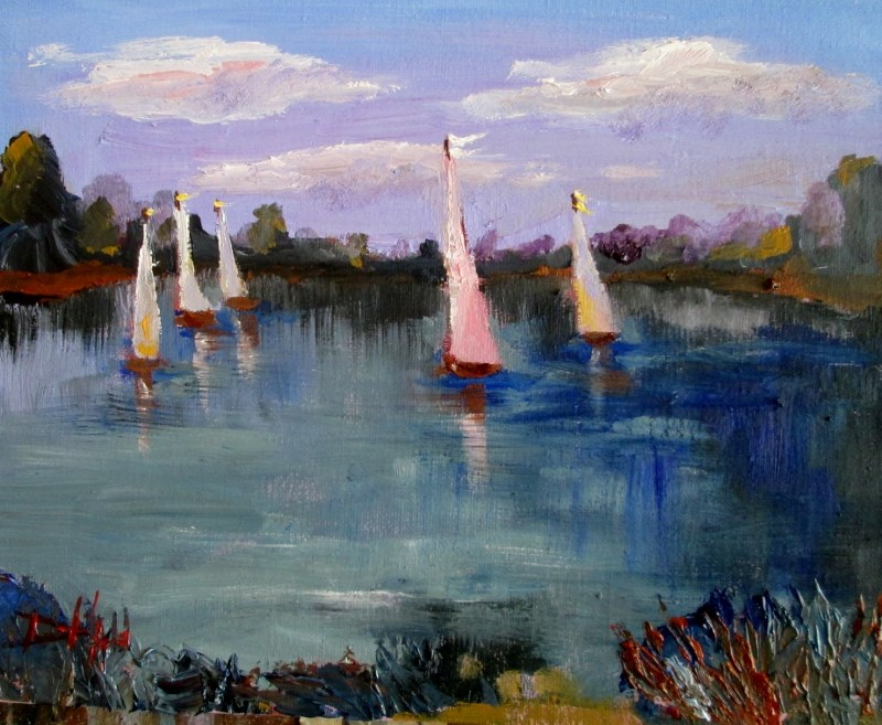 """Sail Boats No. 3"" original fine art by Delilah Smith"