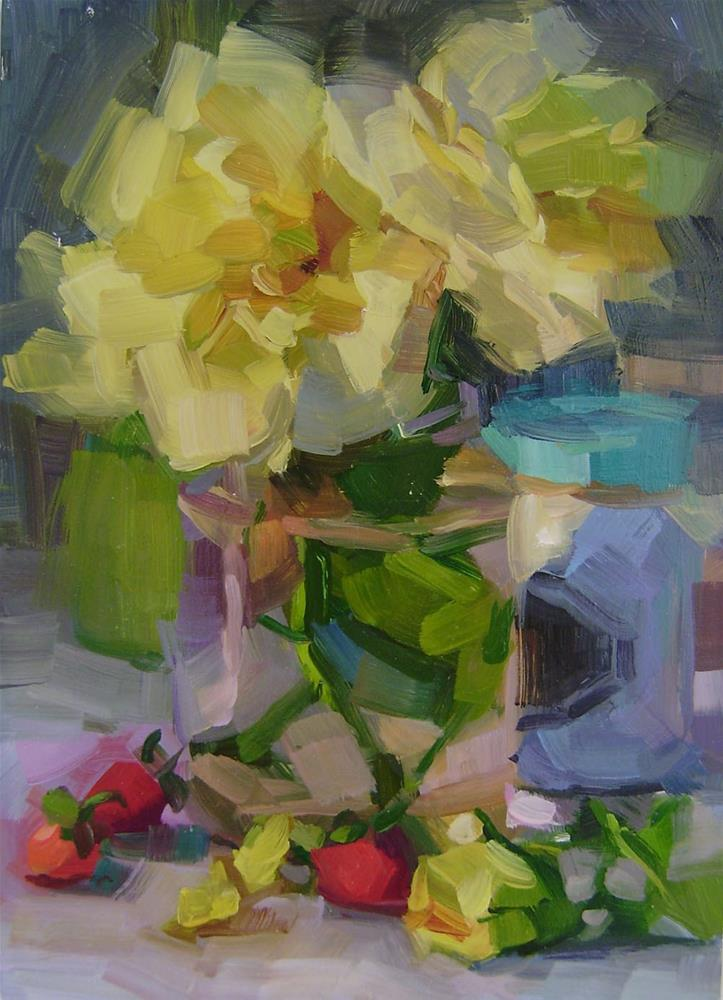 """Yellow Roses"" original fine art by Holly Storlie"