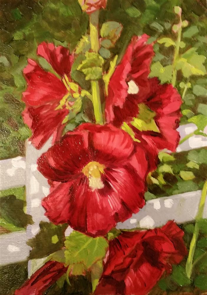 """holly hocks"" original fine art by Lael Henderson"